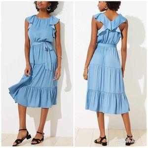 NEW Loft Ruffled Tiered Dress Seafoam Blue XL